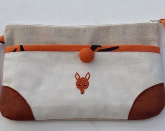 Zipped pouch with a fox, embroidered fox pouch