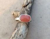 Natural Rose Cut Coral Moonstone Ring Handmade Bezel Setting and band