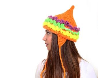 Hand Knitted Hat, Tatarka by Solandia, Pointed Hat, winter children neon ruffled orange Women