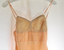 Vintage 1930s Silk Nightgown: Dann Full Length Gown, Peach and Ecru Lace