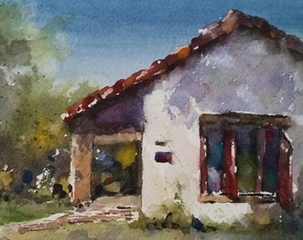 "Red tile, adobe, architecture, shutters, califronia art-San Bernardino Asistencia 2. Original Watercolor Painting (6"" x 6"")"