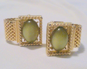 Vintage Swank Green Moonglow Wrap Cuff Links