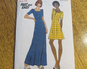 """1970s Fast & Easy Flared Dress in Mini or Maxi Length - Size 12 (Bust 34"""") - VINTAGE Sewing Pattern Butterick 3633"""