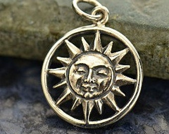 Sterling Silver Sun Charm - Pendant - Large Celestial Charm, Sun Charm, Sun Face, Smiley