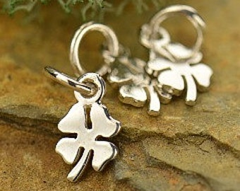 Tiny Sterling Silver Four Leaf Clover Charm-Pendant - Luck, Lucky Flower