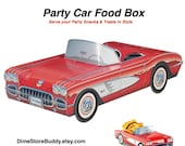 Car Food Boxes / 6 count  Retro Vintage Car Food Tray 1958 Red Chevy Corvette Classic Car Box Car Treat Box Cute Kids Food Box