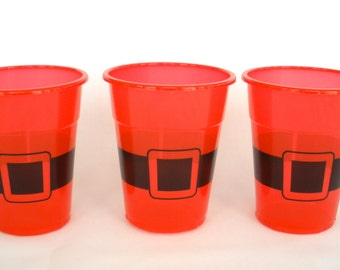 Red Santa Cups 16oz  Pack of 25 Plastic Cups HOHOHO Santa Belt Cups