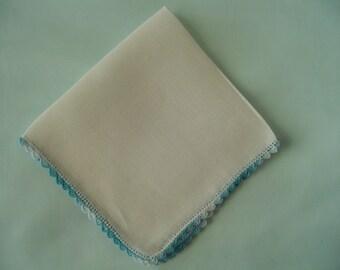 White Linen Handkerchief Ladies Hankies Vintage Hankies Collectible Hankie Teal Color Crochet Edge Hanky Accessory Womens Hankies