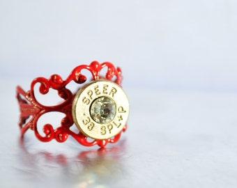 Bullet Ring - Red, Nickel and Diamond Filigree Bullet Ring