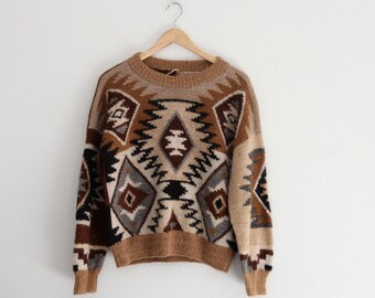1970s Southwest Sweater Cropped Brown Aztec Pattern Hand Knit Womens Vintage Medium