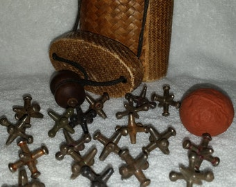 Vintage 1930s Jacks With Woven Carrier