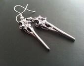 Raven Skull Earrings. Antique Silver Raven Earrings. Bird Skull  Earrings. Goth Earrings. Raven Dangle Earrings. Gothic Jewelry