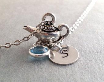 Initial Necklace, Aladdin's Lamp Necklace, Magic Lamp, Make a Wish, Custom, Birthstone Swarovski Personalized Gift, Christmas Gift
