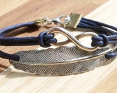Eternity Infinity & Feather Leather Bracelet silvercolored - friendship forever twin sister best friend bff mother daughter gift jewelry