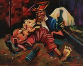 Drunk Pirate with Pigs print by Shaunna Peterson