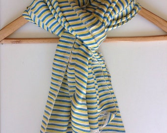Scarf- Cotton  scarf - Blue and Yellow striped Scarf- Mens scarf- Womens Scarf- Ethiopian Cotton Scarves and Wraps- Handmade gift - echarpe