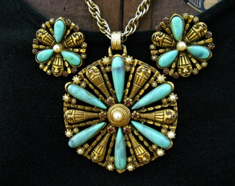 Vintage Selro Set Clown Face Necklace Earrings Faux Turquoise Lucite Pendant