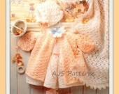 PDF Knitting Pattern for Baby Layette Set Including a Shawl - Beautiful Design