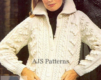 PDF Knitting Pattern for a Ladies Aran Jacket with a Stunning Bobble Design - Instant Download