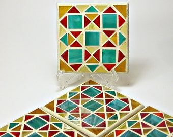 Stained glass mosaic coaster set red, gold, green and amber