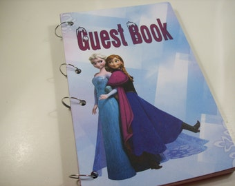 Guest Book, Frozen Party,  Anna and Elsa Birthday, Frozen Party Sign in Book, Frozen Birthday Guest Book, Frozen Party Decor