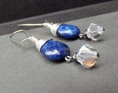 Lapis Blue Dangle Earrings:  Long Drop Crystal Earrings, Royal Blue and Silver Wire Wrapped Everyday Jewelry, Dark Denim Blue