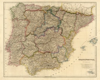 Vintage Map - Spain and Portugal 1832