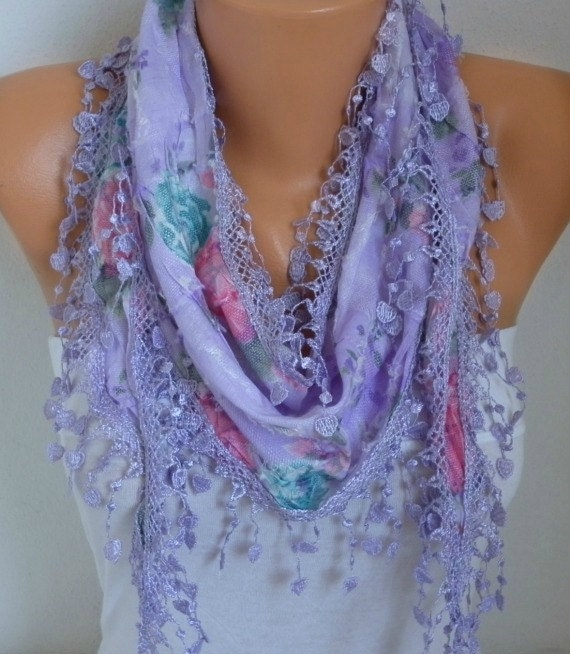 ON SALE - Spring Scarf Floral Scarf Heart Scarf Multicolor Scarf - Cotton Scarf - Cowl Scarf - For Her best selling item scarf