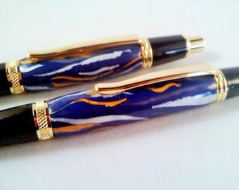 Sierra Gold Pen & Pencil Set - Hand Crafted Polymer Clay - BER-2099