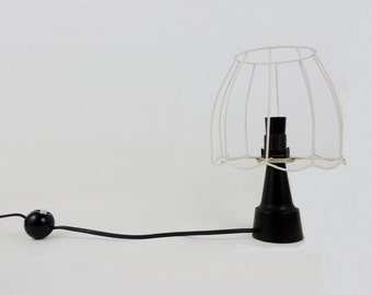 Mid Century Bedside Black Bakelite Lamp with Wire Lampshade