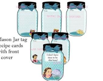 RETRO 1950'S inspired sassy mason jar tag RECIPE cards set of 6- digital delivery
