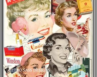 RETRO inspired digital collage ART 8x10 PRINT 1950's women smoking-vintage smoking ads-retro ashtrays-not politically correct today