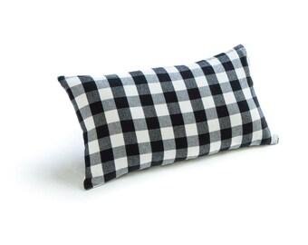 "Buffalo Check Plaid Black & White 12""x21"" Lumbar Pillow"