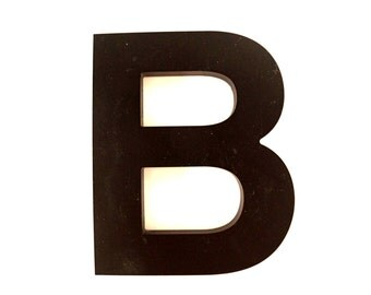 "Vintage Industrial Letter ""B"" 3D Sign Letter in Black Heavy Plastic (5"" tall) - Industrial Home Decor, Typography Letter, Altered Art"