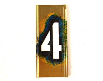 "Vintage Brass Stencil Number ""4"" Reese's Interlocking Stencils, 4"" tall (c.1950s) - Monogram Display, Shadow Box Letter, Art Supply"