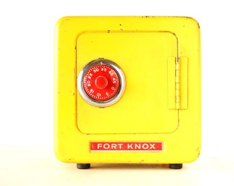 Vintage Fort Knox Metal Bank in Bright Yellow (c.1960s) - Collectible Retro Bank, Family Room Decor