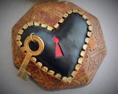 Vintage c1930, Figural Heart & Skeleton Key, Puffy Leather Pin Brooch, Dimensional, Whimsical and Fun