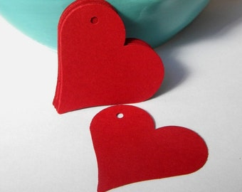 25 paper heart tags -deep red heart tags - use for wedding tags - gift tags - hang tags - favor tags - wish tree tags - paper goods