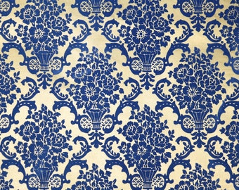 Retro Flock Wallpaper by the Yard 70s Vintage Flock Wallpaper - 1970s Blue Floral Roses Damask on Gold