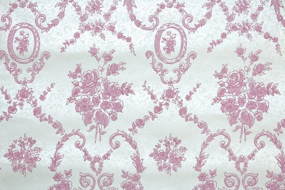 Retro Flock Wallpaper by the Yard 70s Vintage Flock Wallpaper - 1970s Pink Floral Flock on White