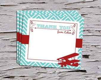 Vintage First Birthday Thank You Note - Airplane - Biplane - Time Flies - Retro Birthday- Red - Maroon - Teal - Navy - Baby Blue -