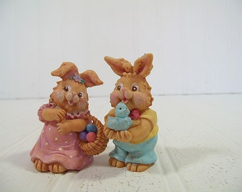 Vintage Russ Collectibles Set of 2 Boy & Girl Bunny Figures - Pink / Blue Nursery Decor Miniatures - Shabby Chic Cottage Holiday Pieces Pair