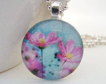 Pink Cosmos Glass Tile Pendant with Free Necklace