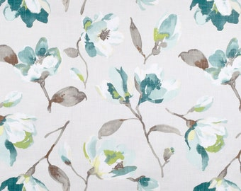 Pair of Custom Curtains or Drapes, any size available,  Collection by Braemore Fleur Summer flowers in teal, blue, gray,