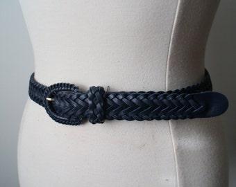 Vintage 80s Navy Blue Genuine Leather Boho Braided Belt Size Small