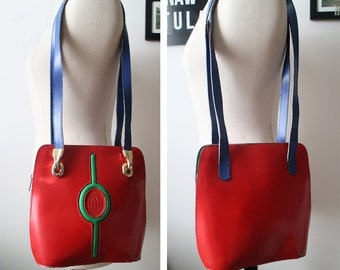 Vintage 70s Eximious Menbur Spanish Leather Color Blocked Bag Made in Spain