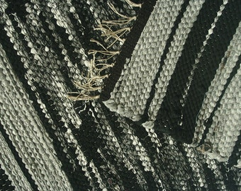 handwoven rug, bath mat, kitchen mat, black white and grey rug, bathroom rug, bedroom