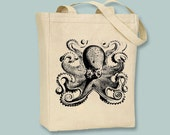 Vintage Octopus Illustration on Canvas Tote with shoulder strap - Selection of sizes and colors available