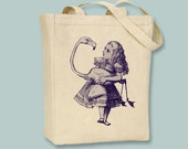 Alice in Wonderland original Illustration Alice with Flamingo on Canvas Tote - Selection of sizes and ANY IMAGE COLOR available
