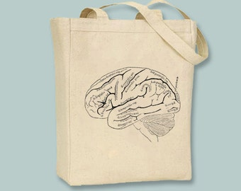 Vintage Anatomical Brain Image on canvas tote  - Selection of sizes available